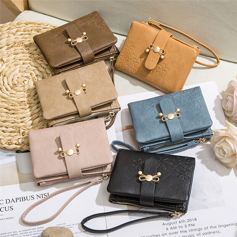 Bow Women's Short Wallet Pu Leather Trendy Mini Wallet Gift Solid Color T