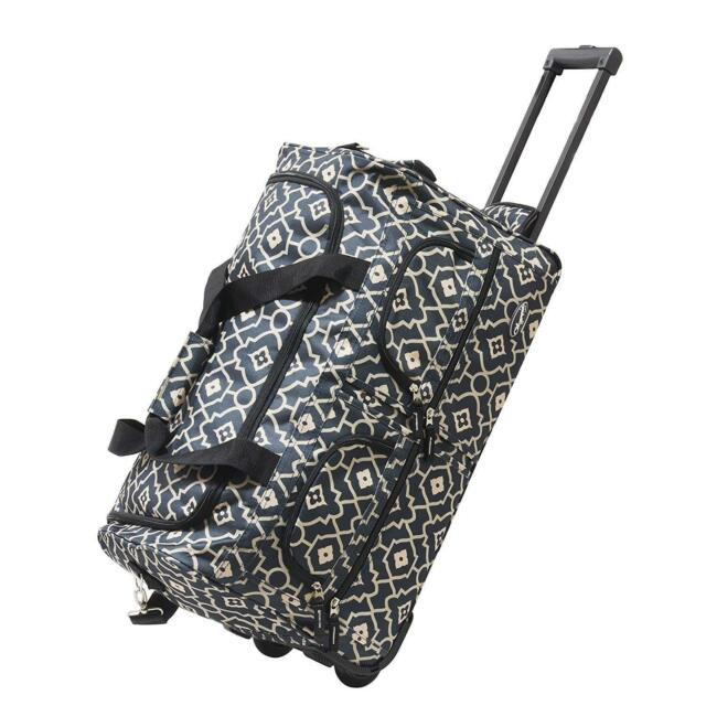 Olympia Luggage Sports Plus 22 Inch 8 Pocket Rolling Duffel Bag Trellis Color