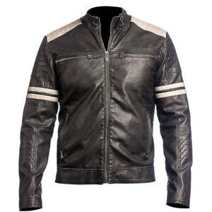 Pelle Slim Da Black In Nuova Racer Vintage Cafe Fit Uomo Motorcycle Biker Giacca Yq4E1Ew
