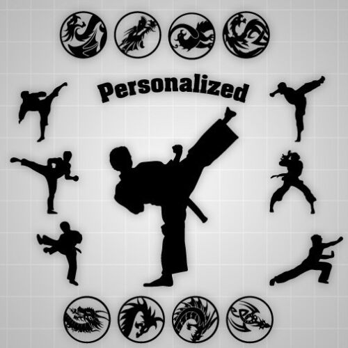 Taekwondo Personalized Martial Arts decal, Taekwondo Kung fu vinyl 15PCS