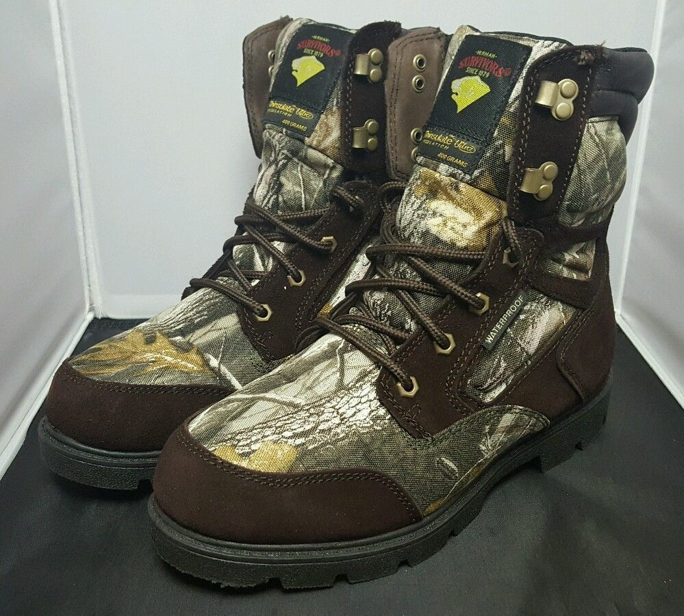 Size 8.5 HERMAN SURVIVORS Men's Realtree Hardwoods Waterproof Hunting BootsH2011