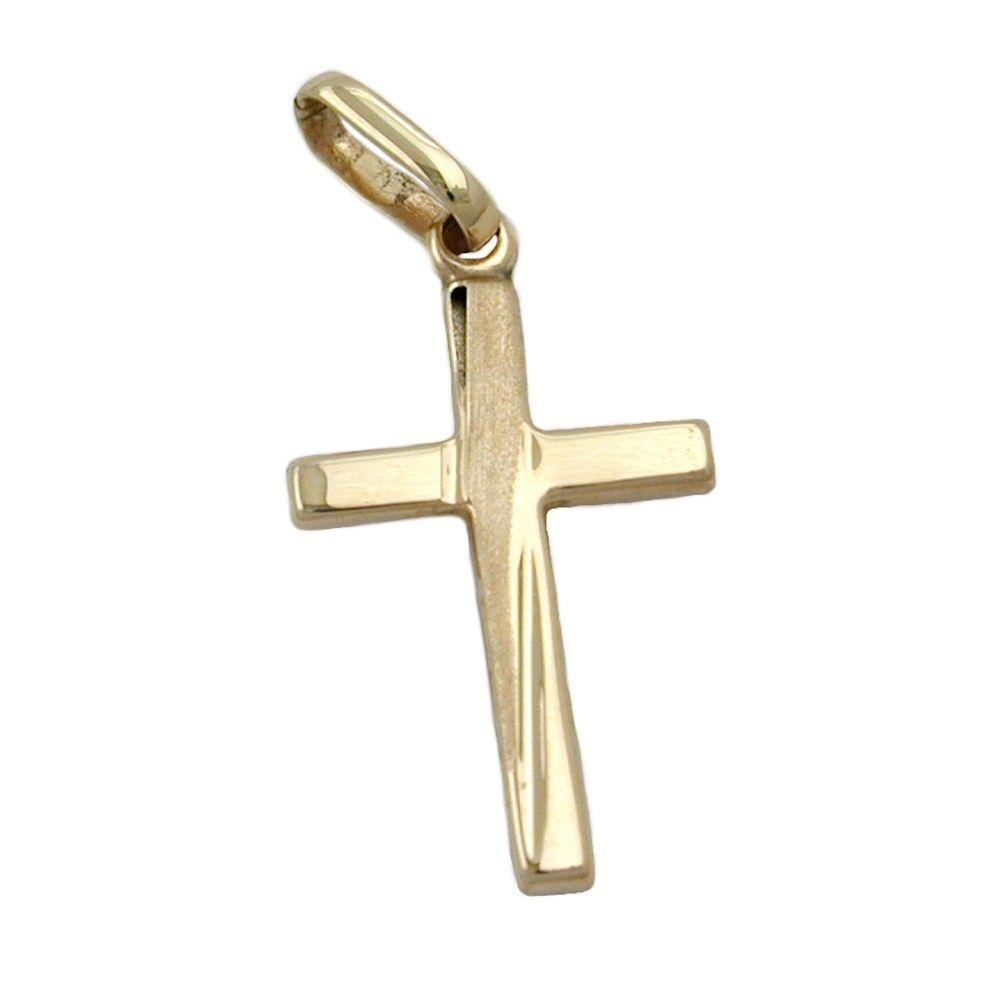 Pendentif en or croix , 375 yellow, sobre, polissage diamanté, unisexe