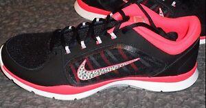 53e318817f64 NIB Bling Rhinestone Nike Flex Trainer 4 Black Pink Sneakers Stylish ...
