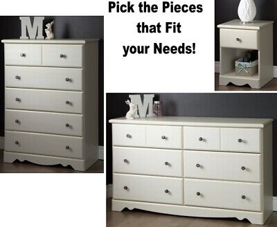 White Wash Cream Country Style Bedroom Drawer Nightstand Chest Dressers  Sets NEW | eBay