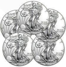 Lot of 5 - 2019 1 oz .999 American Silver Eagle BU $1 Coins