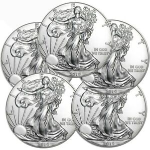 Lot-of-5-2019-1-oz-999-American-Silver-Eagle-BU-1-Coins