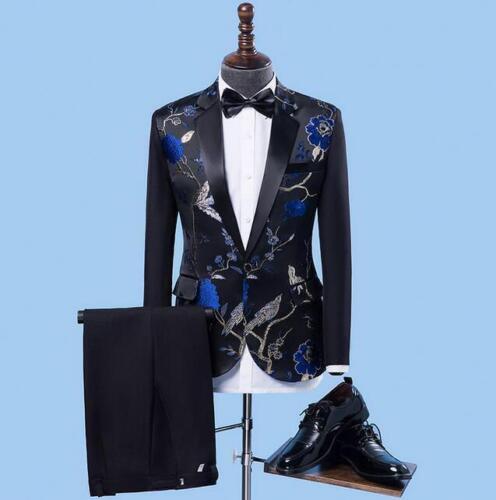 Mens Embroidery Floral Blazer Coat Jacket 2pcs Costume Club Dress Suits Pants