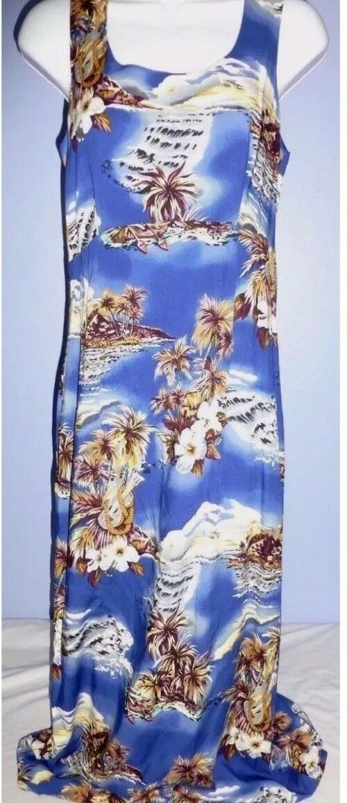 Hilo Hattie bluee Hawaiian Dress With Canoes, Palms, Hibiscus Size 4