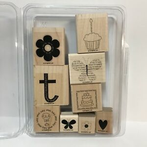 Stampin-Up-Cause-For-Celebration-Rubber-Stamp-Set-of-9-Cupcake-Butterfly-Smile