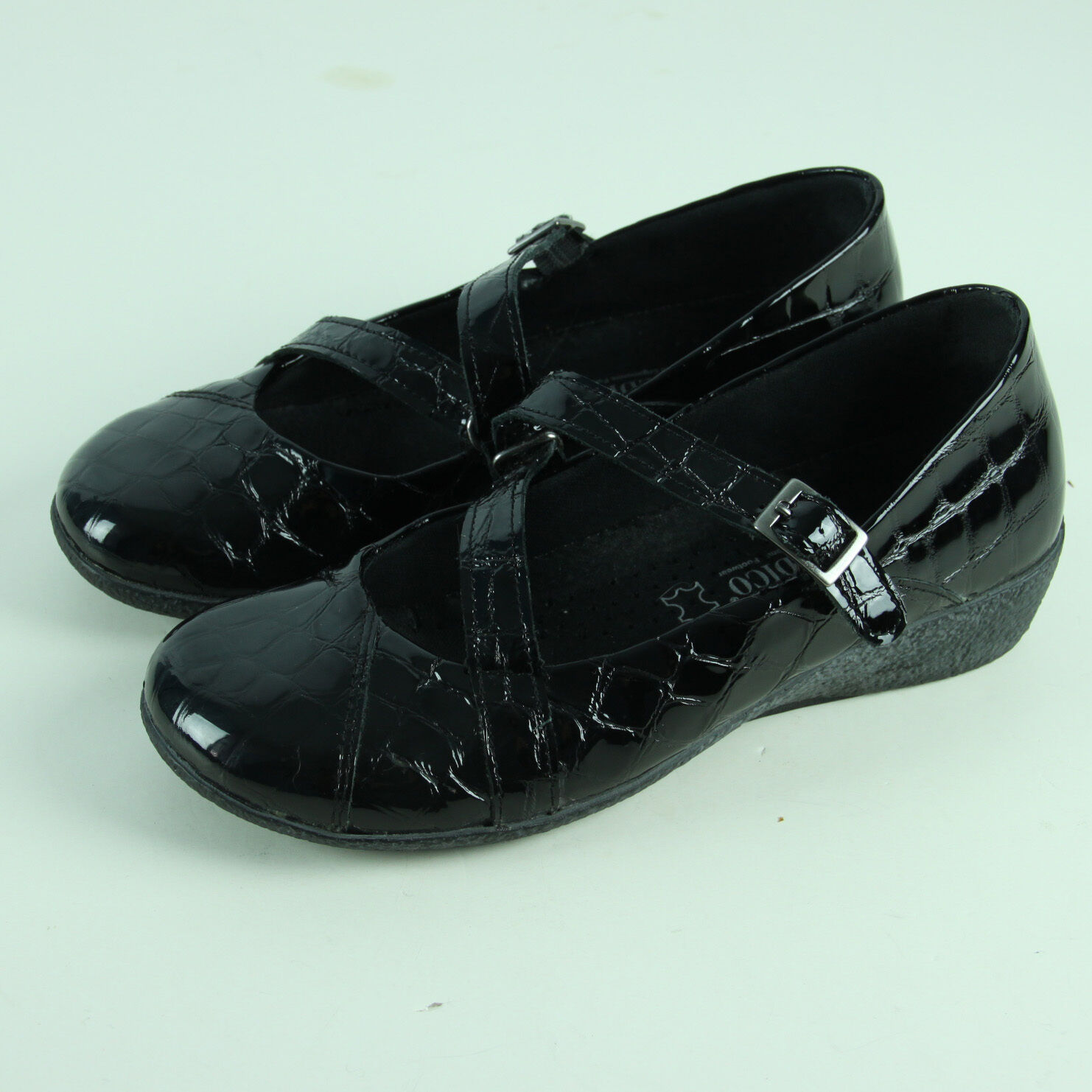 Arcopedico Mary Janes tamaño 37 6.5 Cocodrilo Zapatos Negro Cocodrilo 6.5 patente a'rcopedico cuñas 5b85fb