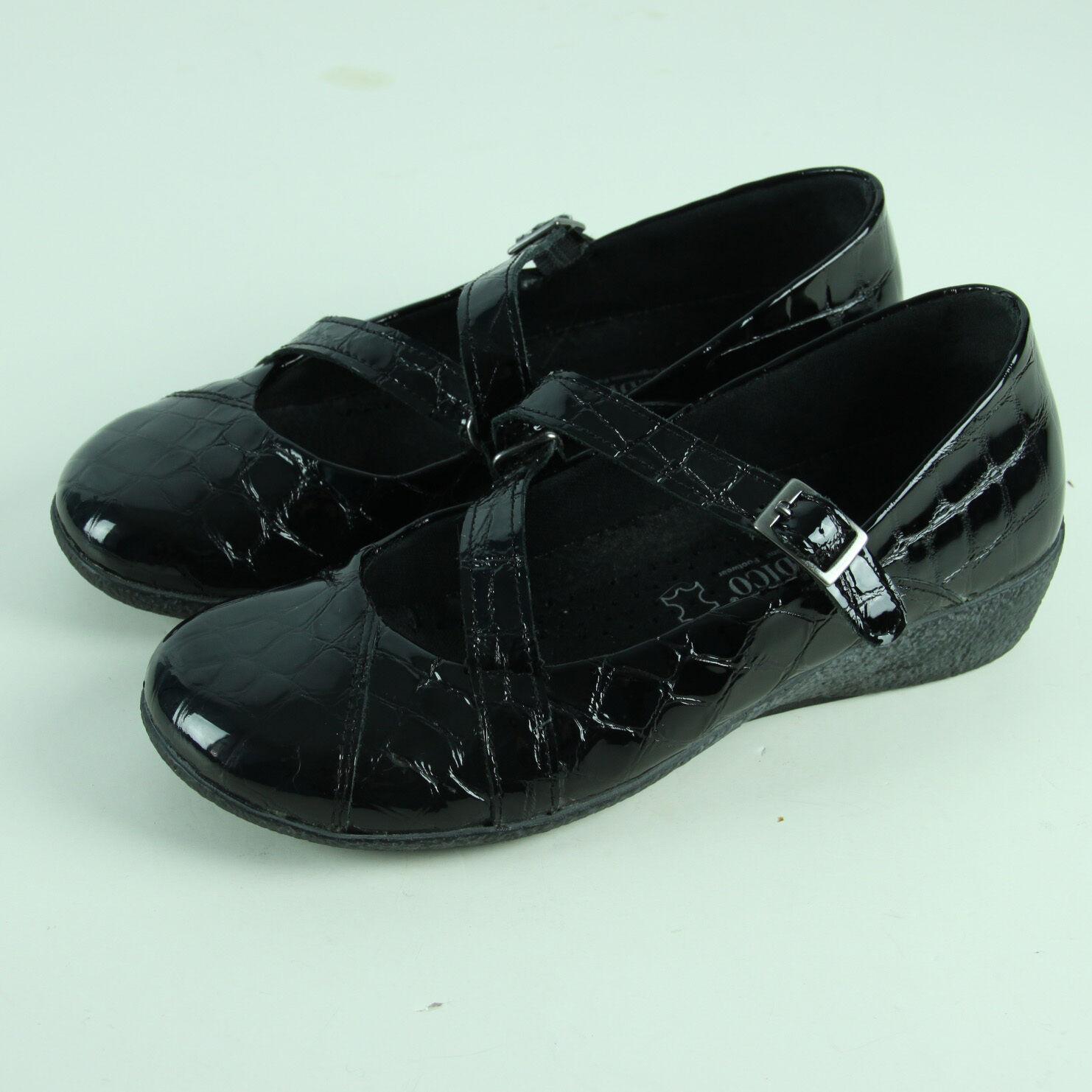 Arcopedico Mary Janes Size 37 6.5 shoes Black Croc Patent A'rcopedico Wedges