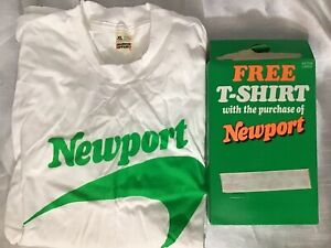 USA-vtg-90s-Screen-Stars-Newport-XL-THIN-Promo-T-Shirt-Deadstock-Single-Stitch