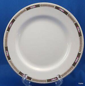 Image is loading Johnson-Brothers-Dessert-Pie-Plate-Black-Tan-Laurel- & Johnson Brothers Dessert Pie Plate Black Tan Laurel Pink Flowers ...