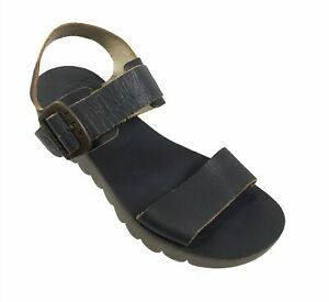 Fly London Yost Black Womens Leather Wedge Sandals Shoes Size 39 US 8 - 8.5