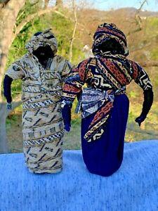 "Vintage AFRICAN BLACK DOLLS 10"" Cloth Made Yarn Native Garb VooDoo Set of 2 ❤️m9"