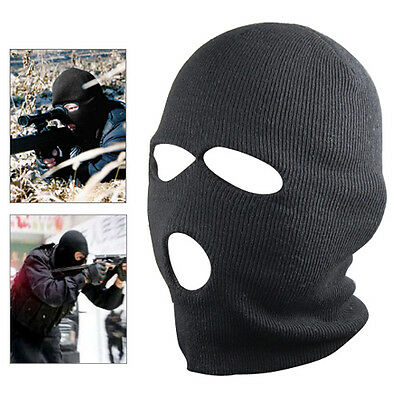 New Black Balaclava SAS Style 3 Hole Mask Neck Warmer Paintball Fishing Ski Hat