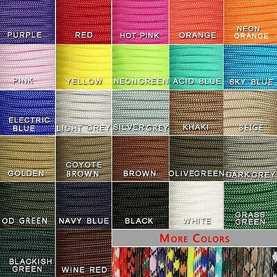 New 550 Paracord Parachute Cord Lanyard Mil Spec Type III 7 Strand Core 100FT