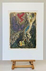 Museal-ORIGINAL-Marc-CHAGALL-Lithographie-461-Rares-EXODUS-Blatt-Anno-1966