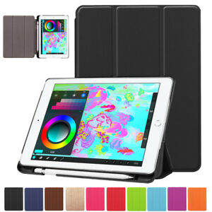 For-Apple-iPad-9-7-034-2017-2018-Leather-Smart-Stand-Case-Cover-With-Pencil-Holder