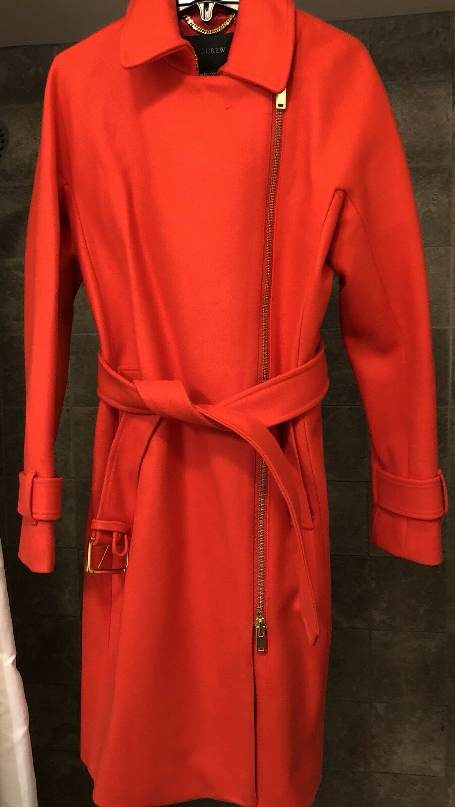 J.CREW BELTED ZIP TRENCH COAT IN WOOL MELTON SIZE 0 BRILLIANT FLAME E4396