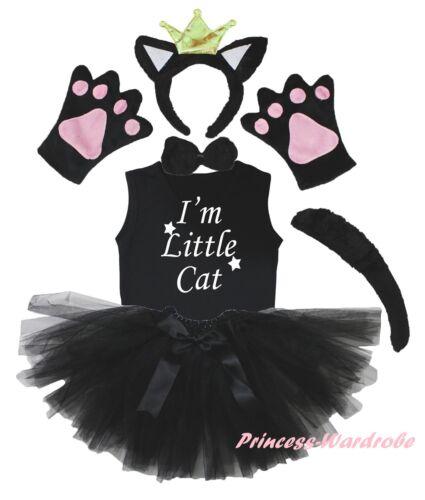 Halloween Crown Black Cat Party Kid 6P Headband Paw Tail Bow Shirt Skirt Costume