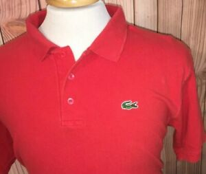 8dffac99 Details about Lacoste Classic Solid Red 3 Button Short Sleeve Polo Shirt  Mens Size 6 Large