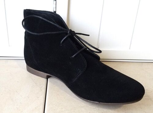 Women/'s Black Vegan Lace Up Suede Desert Ankle Chukka Booties