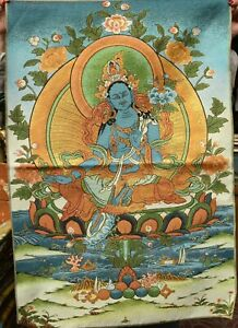 Tibet Cloth Silk Green Tara Mahayana Buddhism enlightent Thangka Tangka Mural