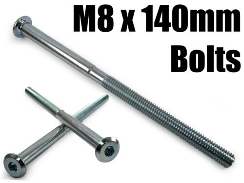 M8 x 140mm Furniture Connector Bolts Flat Head Joint Fixing Unit Bed Cot Desk