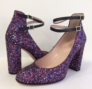 695da85ba24d New kate spade Baneera Glitter Heel Pumps Ankle Strap Purple Black ...