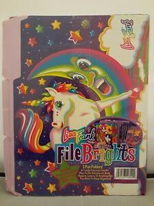 Vintage-Lisa-Frank-File-Brights-3-Folders-Labels-Stickers-Horses-Birds-Unicorn