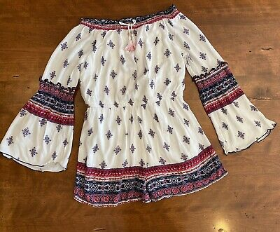 Truly Me Size 7-16 Girls Long Sleeve Woven Romper in Floral Print