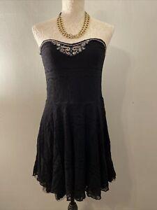 Free People Womens Black Strapless Beaded Dress Flowy Lace Sz Med