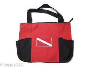 Dive Flag Double Pocket Canvas Tote Bag - Scuba Diving