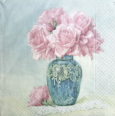 4 Single Paper Napkins, for Decoupage, Sagen, Napkin, Vintage,Craft, Floral Vase