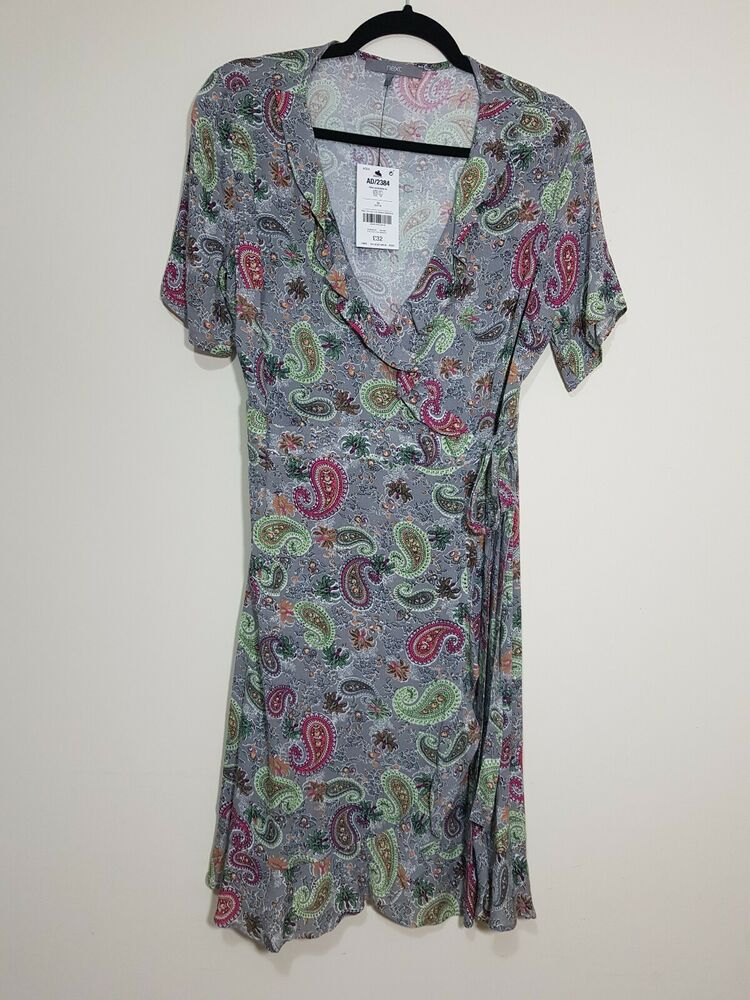 Next Gris Multicolore Paisley Wrap Midi Robe Taille 10 Bnwt Summer Holiday Hobo