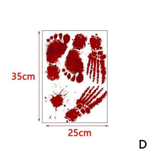 Halloween Wand Aufkleber Dekor Fenster Blutige Handabdruck Fußabdruck Aufkleber