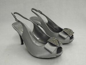 a3ef672d54d6e3 Femmes: chaussures Dames de Vente Anne Michelle Bout Ouvert Satin Strass  Talon Haut Nœud Chaussure ...