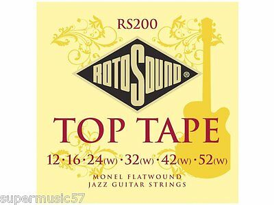 rotosound rs200 top tape monel flatwound electric jazz guitar strings 12 52 686194000561 ebay. Black Bedroom Furniture Sets. Home Design Ideas
