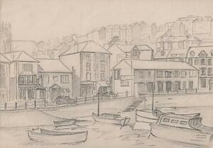 BOATS IN ENGLISH HARBOUR Pencil Drawing ARTHUR MITSON c1955