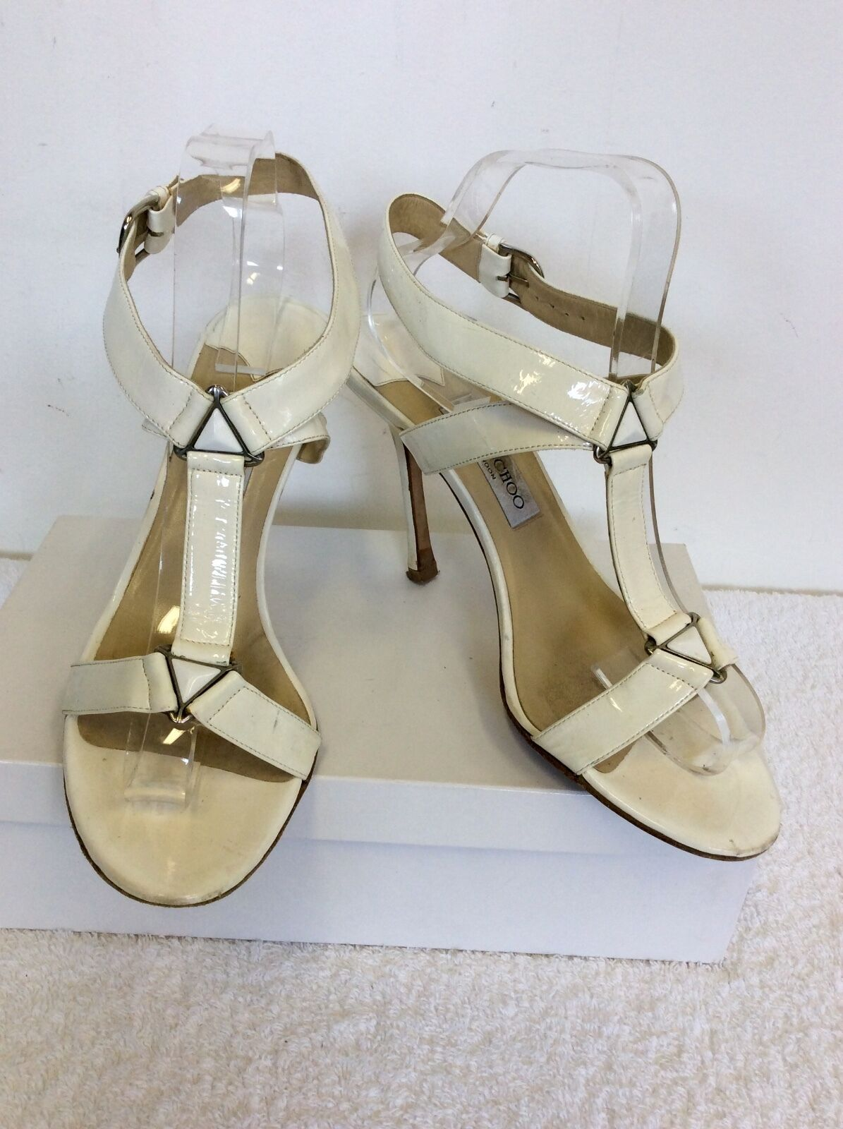 JIMMY CHOO WEISS PATENT LEATHER STRAPPY HEELED SANDALS SIZE 7/40.5