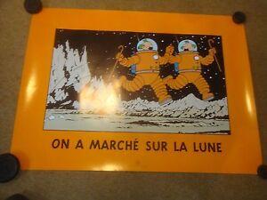 Explorers-on-the-Moon-Thom-p-sons-Dancing-Original-Tintin-Poster-rare