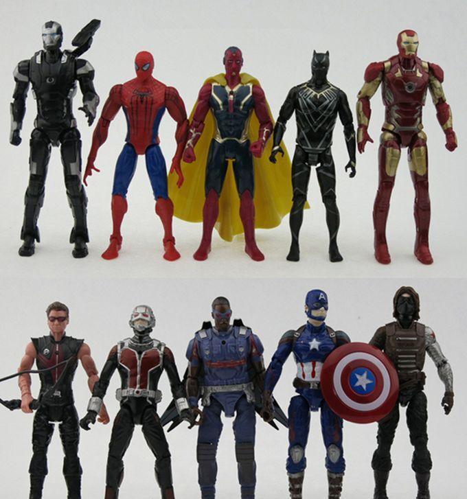 10 pcs   set Avengers Iron Man Batman Winter Soldier Captain action figures Toy.