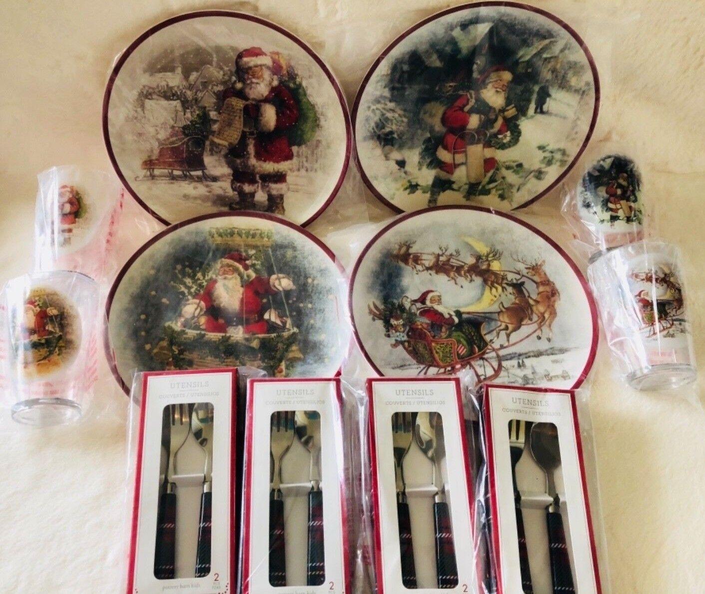 POTTERY BARN Kids Nostalgique Santa plaque Tumbler Ustensile Set 12 Classic Christmas