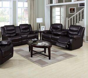 Image Is Loading New 2pc Motion Sofa Set Espresso Bonded Leather