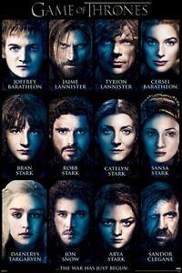 Game Of Thrones Poster 12 Faces 24x36 Tv Season 3 Tyrion Daenerys Stark Cersei Ebay