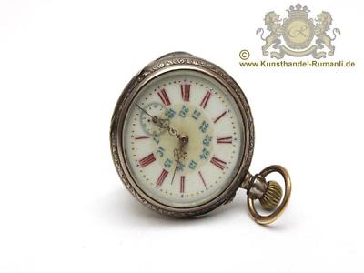 Alte Galonne Taschenuhr 800 Silber Mit Römisch Arabischem Ziffernblatt Emailiert