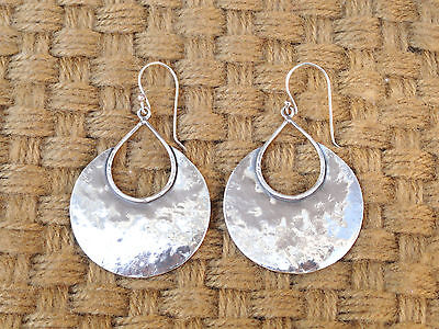 MINT - NEW LOOKING!  SILPADA HAMMERED HALF MOON BAY EARRINGS (wires),  W1539