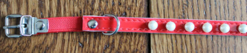 "New Red Patent Leather Pearl Collar 10/"" MAX 1//2/"" Thick Cat Dog Puppy Kitten Pet"
