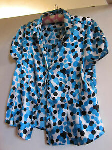 Shiny-Blue-amp-White-Circles-Debenhams-Shirt-Blouse-Top-in-Size-14